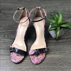 Floral Brocade Heel Open Toe Ankle Strap Wedding